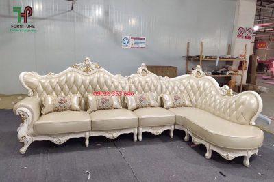 ghế sofa góc da thật cổ điển