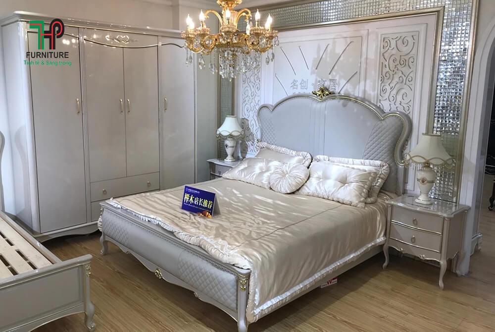giường bọc da tân cổ điển