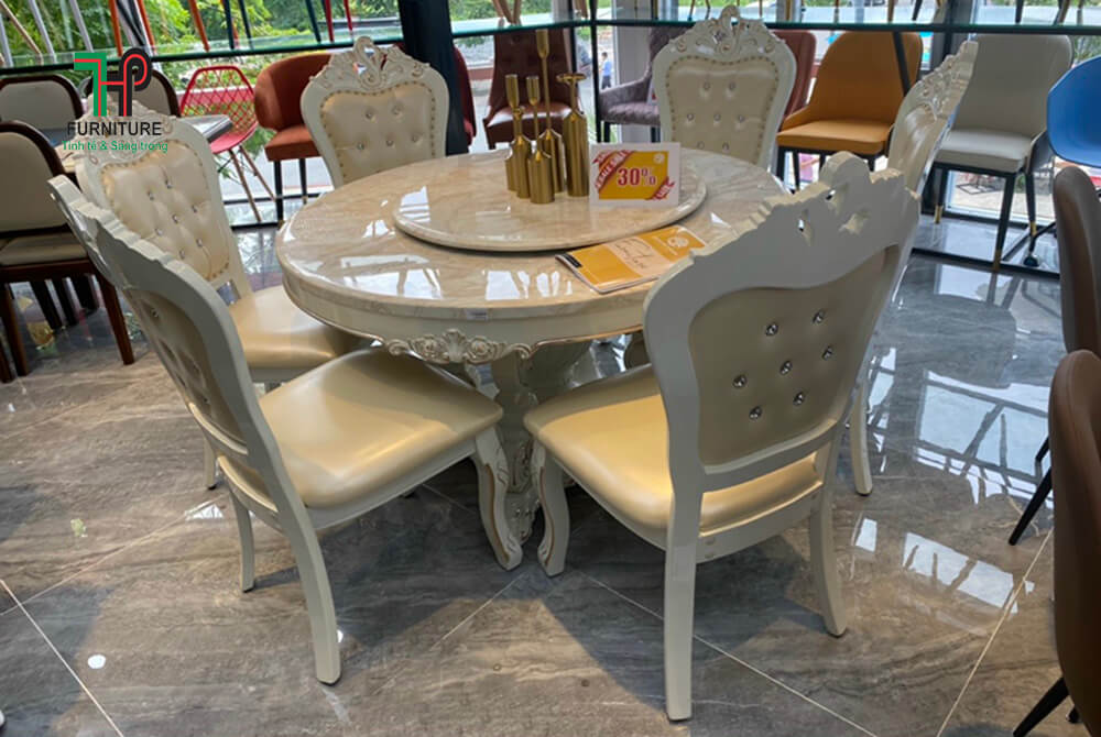 bộ bàn ăn mặt đá trắng