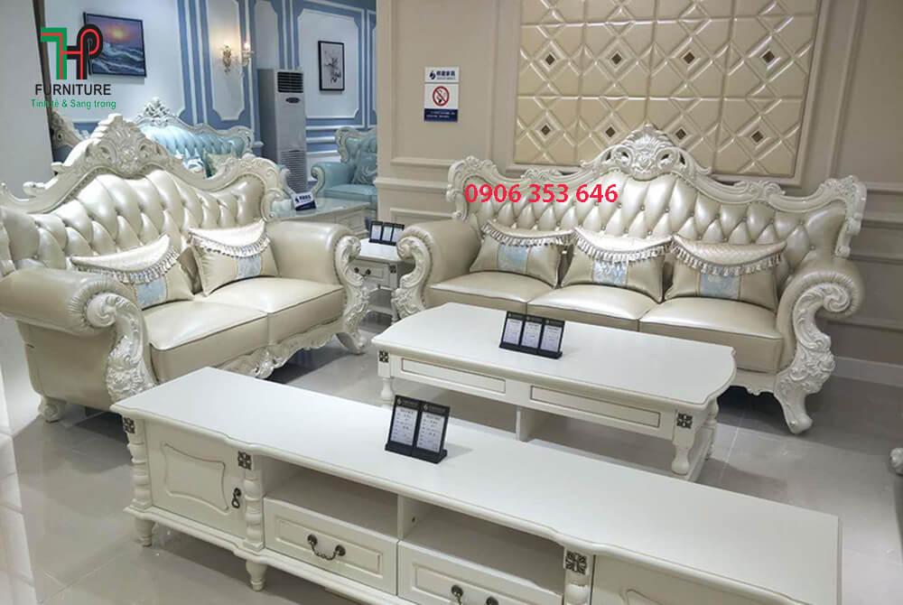 sofa cổ điển màu trắng đẹp