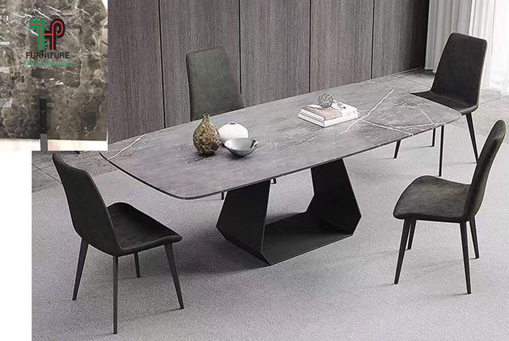 bàn ăn chân sắt sơn tỉnh điện mặt đá