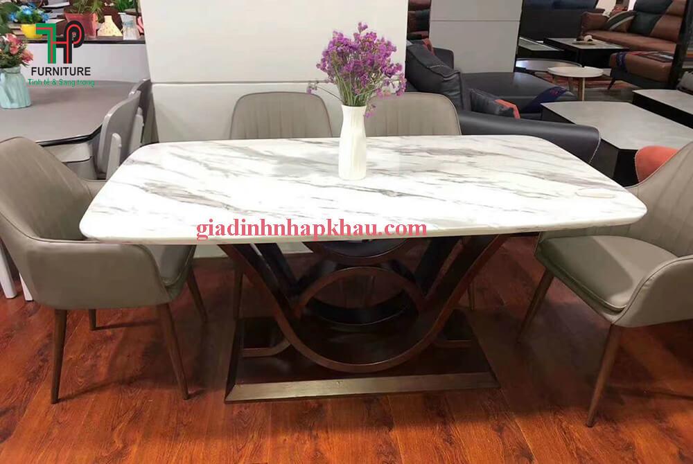 bàn ăn mặt đá chân gỗ hiện đại