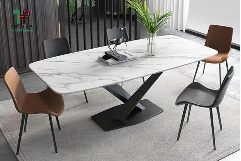 bàn ăn mặt đá chân sắt sơn (1)