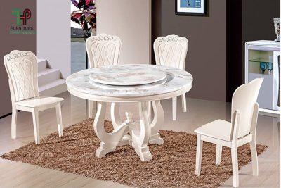 Bộ bàn ăn tròn cao cấp nhập khẩu