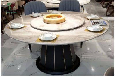 bàn ăn tròn mặt đá sang trọng