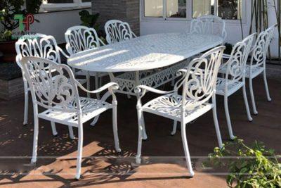 Bộ bàn ghế sân vườn nhôm đúc elip
