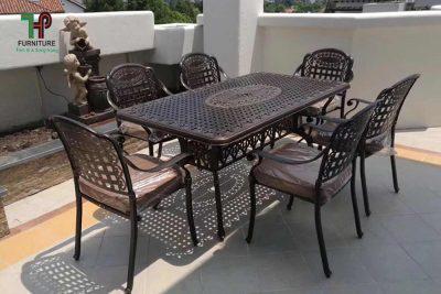bàn ghế ngoài trời nhôm dúc