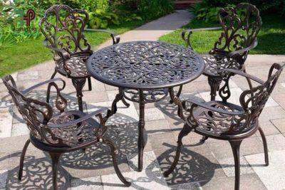 bàn ghế nhôm đúc sân vườn (1)