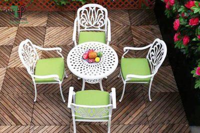 bộ bàn ghế ngồi thư giản ngoài trời nhôm đúc TPHCM