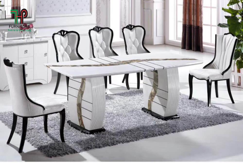 bàn ăn mặt đá 6 ghế nhập khẩu