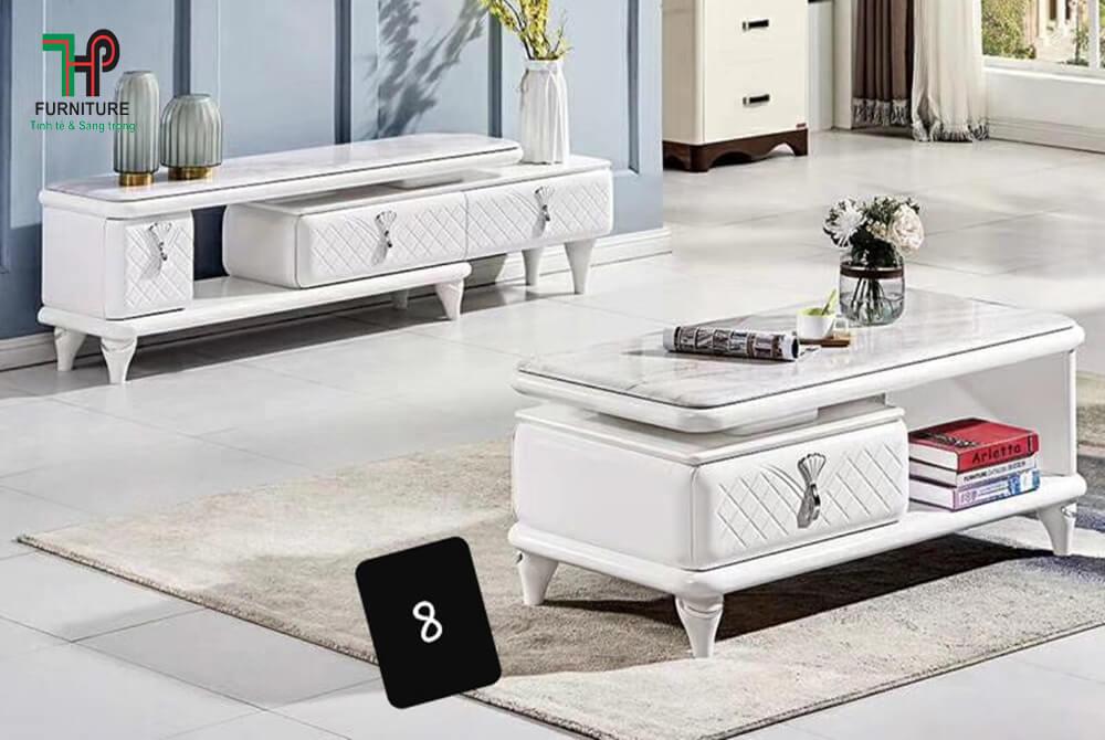 bàn trà mặt đá màu trắng