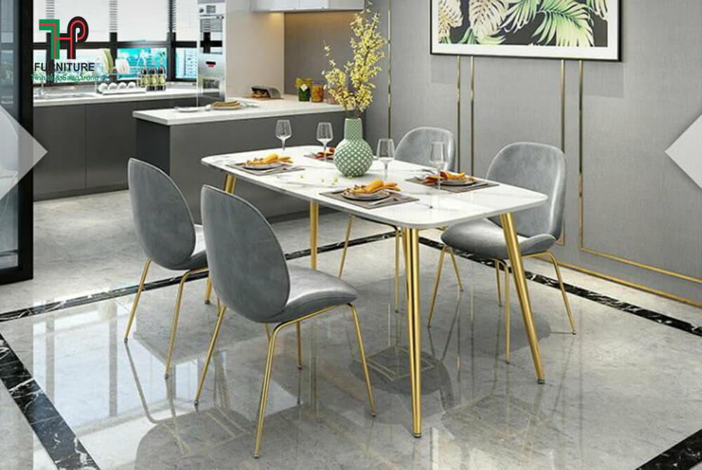 bàn ăn mặt đá marble chân mạ vàng