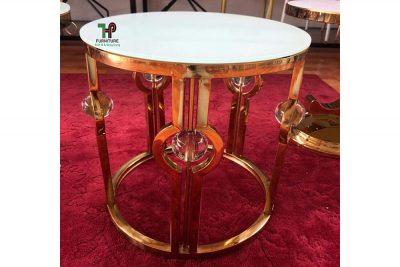 bàn tròn inox mạ vàng