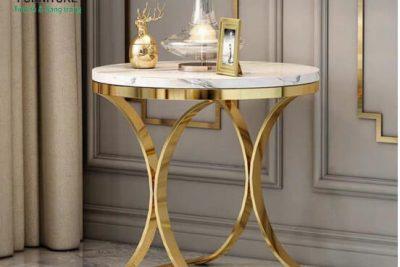 bàn tròn nhỏ mạ vàng