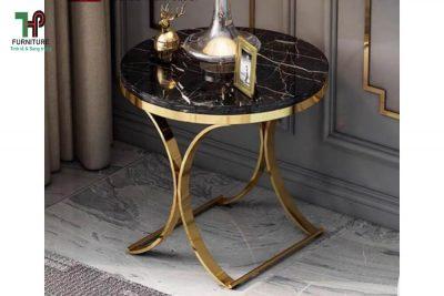 bàn tròn trang trí mạ vàng