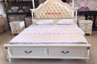 giường ngủ tân cổ điện màu trắng