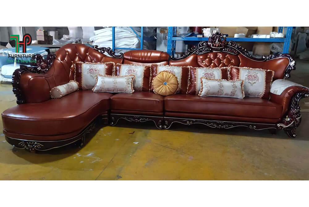 Sofa cổ điển nâu đỏ nhập khẩu