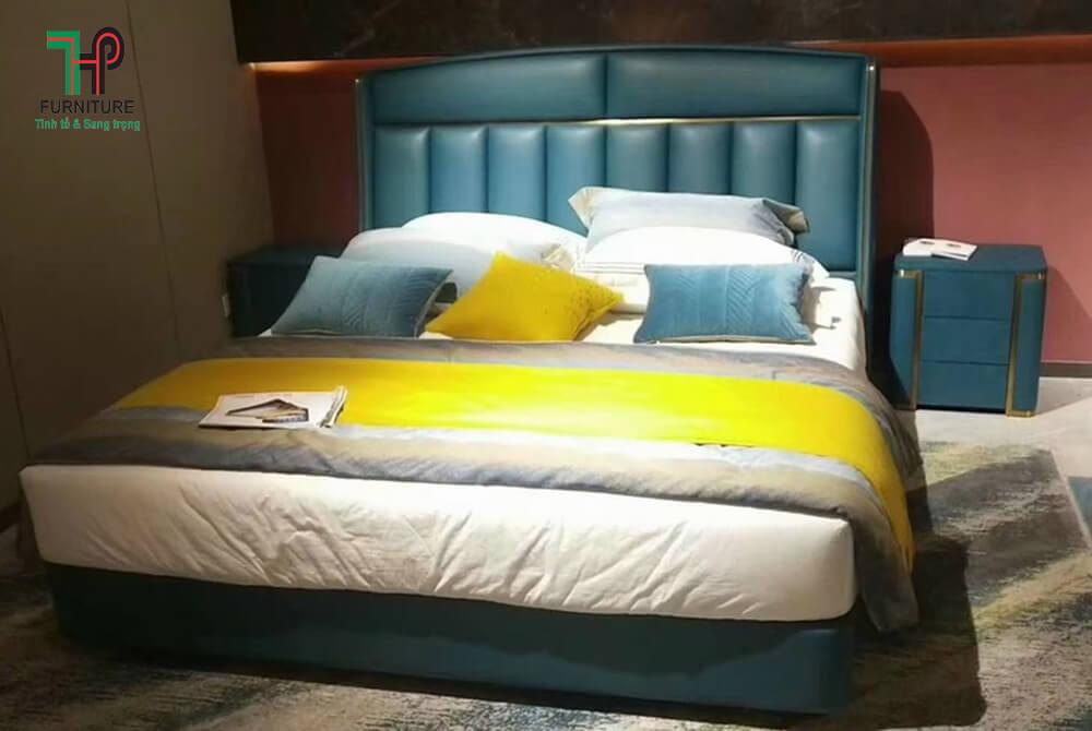 giường ngủ mạ vàn đầu bọc nệm