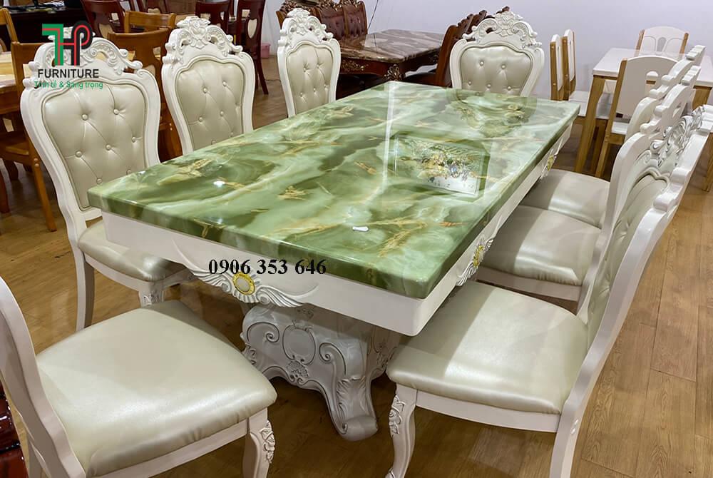 Bộ bàn ghế ăn cổ điển màu trắng