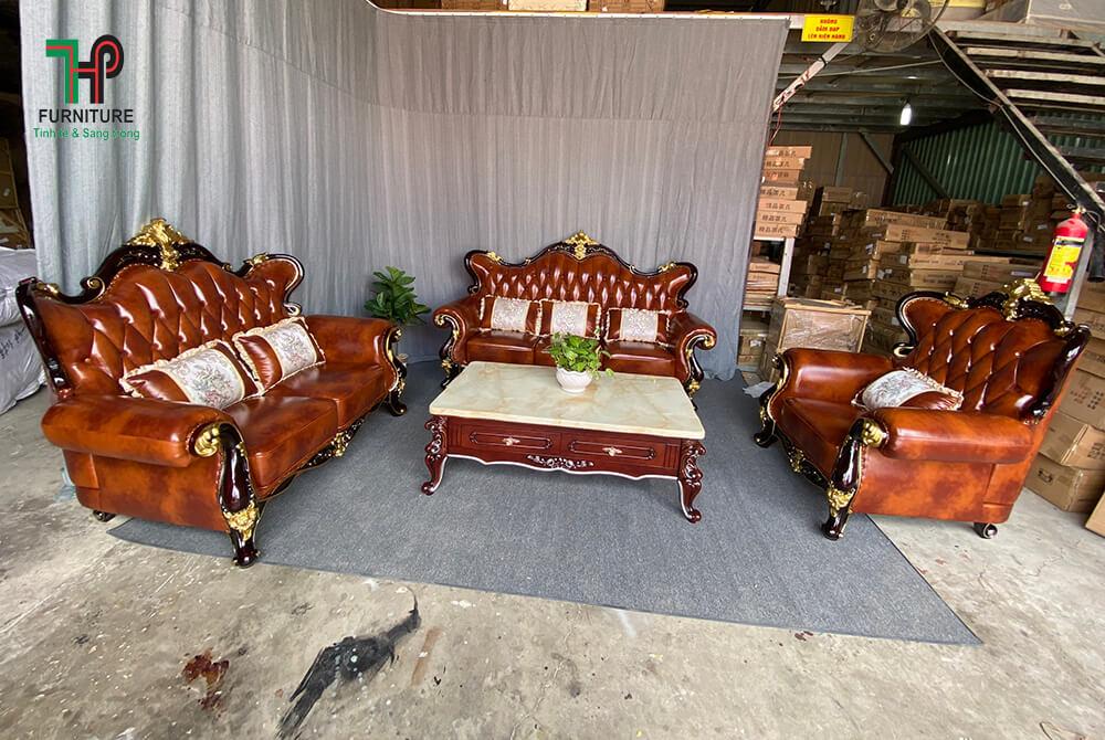 Sofa cổ điển cao cấp màu nâu