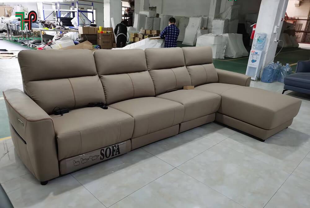 sofa da thật cao cấp có ghế thư giản